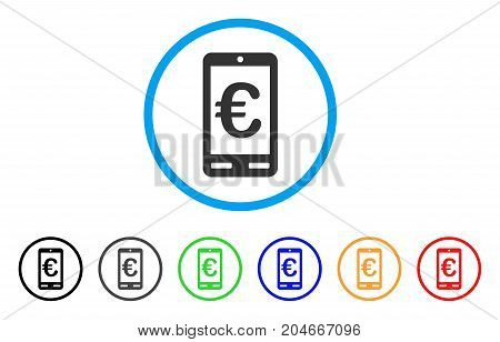Euro Mobile Bank rounded icon. Style is a flat euro mobile bank grey symbol inside light blue circle with black, gray, green, blue, red, orange variants.