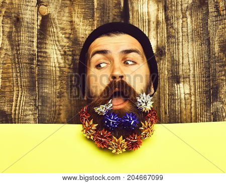 Bearded Man, Brutal Caucasian Thoughtful Hipster With Gift Decoration Stars