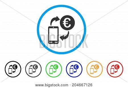 Euro Mobile Exchange rounded icon. Style is a flat euro mobile exchange gray symbol inside light blue circle with black, gray, green, blue, red, orange versions.