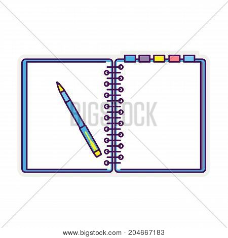 Flat line design notepad and paper sheets isolated on white background whit place for text. School vector background with an open notebook.