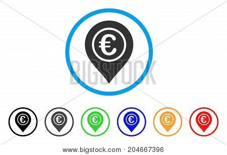 Euro Pointer rounded icon. Style is a flat euro pointer gray symbol inside light blue circle with black, gray, green, blue, red, orange versions. Vector designed for web and software interfaces.