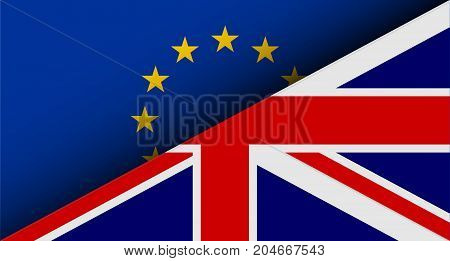 Flags of EU and UK divided on half. Brexit theme. Vector illustration.