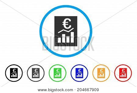 Euro Sale Report rounded icon. Style is a flat euro sale report grey symbol inside light blue circle with black, gray, green, blue, red, orange variants.