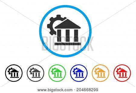 Bank Settings rounded icon. Style is a flat bank settings gray symbol inside light blue circle with black, gray, green, blue, red, orange variants. Vector designed for web and software interfaces.