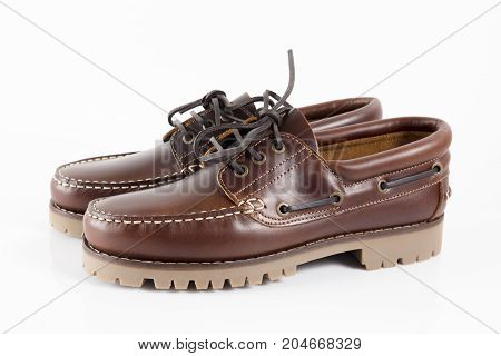 Male Brown Shoe on White Background, Isolated Product.