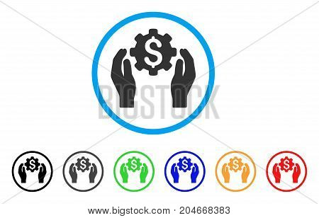 Banking Maintenance Hands rounded icon. Style is a flat banking maintenance hands gray symbol inside light blue circle with black, gray, green, blue, red, orange versions.