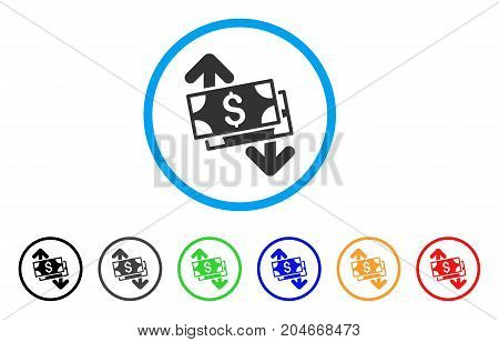 Banknotes Spending rounded icon. Style is a flat banknotes spending grey symbol inside light blue circle with black, gray, green, blue, red, orange color versions.