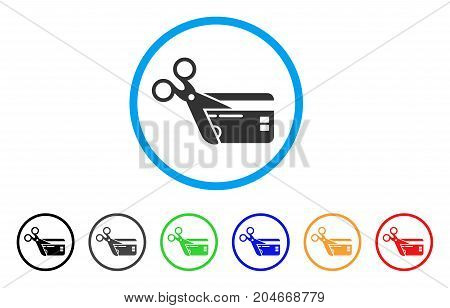 Cut Credit Card rounded icon. Style is a flat cut credit card grey symbol inside light blue circle with black, gray, green, blue, red, orange variants. Vector designed for web and software interfaces.