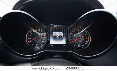 The modern car interior dashboard details. Close up