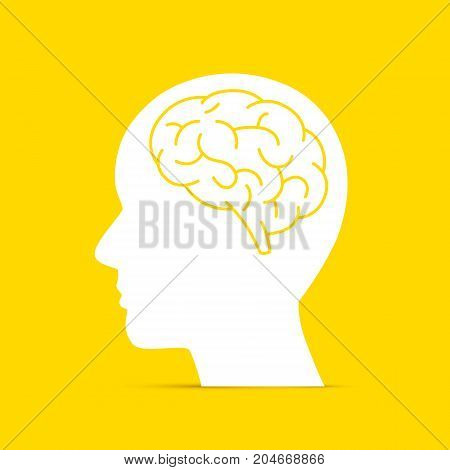 Silhouette head with the brain on the yellow background. Vector illustration