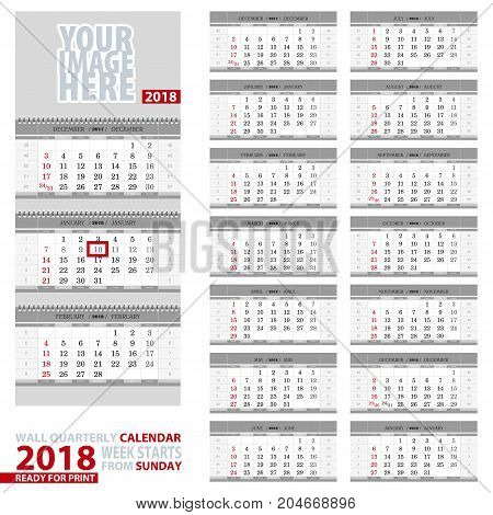Wall quarterly calendar 2018. Week start from Sunday ready for print. Vector Illustration.