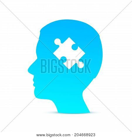 Head puzzle brain on the white background. Vector Illustration