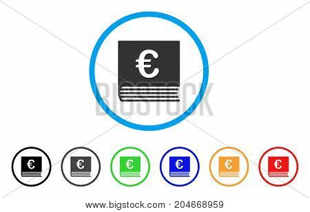 Euro Sales Book rounded icon. Style is a flat euro sales book gray symbol inside light blue circle with black, gray, green, blue, red, orange color versions.