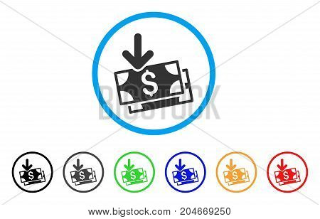 Get Banknotes rounded icon. Style is a flat get banknotes gray symbol inside light blue circle with black, gray, green, blue, red, orange variants. Vector designed for web and software interfaces.