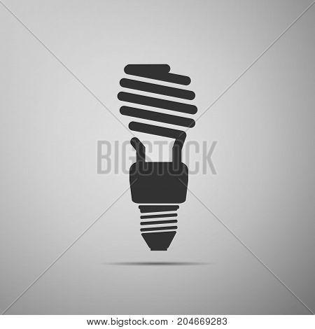 Energy saving light bulb icon isolated on grey background. Flat design. Vector Illustration