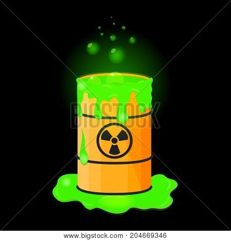 Barrel with spilled liquid. Radioactive green slime. Waste with bubbles. Vector illustration.