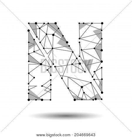 Low poly letter N English Latin. Polygonal triangle connect dot point line. Black white 3d structure model font type vector logo illustration art