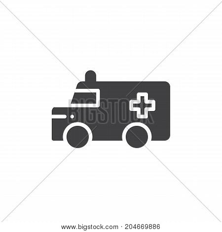 Ambulance truck icon vector, filled flat sign, solid pictogram isolated on white. Symbol, logo illustration