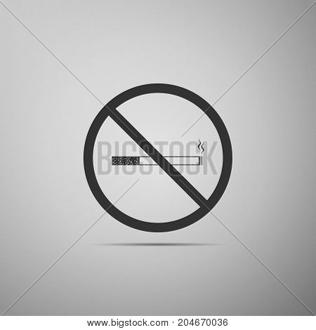 No Smoking sign icon. Cigarette symbol icon isolated on grey background. Flat design. Vector Illustration