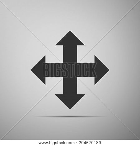 Arrows in four directions icon isolated on grey background. Flat design. Vector Illustration