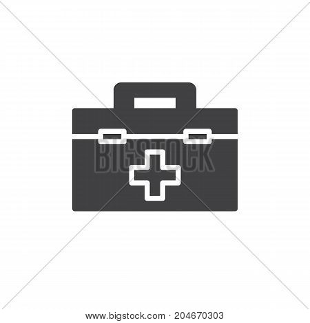 Medical bag icon vector, filled flat sign, solid pictogram isolated on white. First aid kit symbol, logo illustration