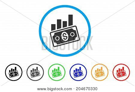 Sales Bar Chart rounded icon. Style is a flat sales bar chart gray symbol inside light blue circle with black, gray, green, blue, red, orange variants. Vector designed for web and software interfaces.