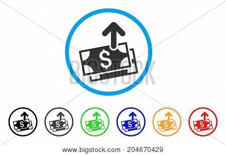Send Banknotes rounded icon. Style is a flat send banknotes gray symbol inside light blue circle with black, gray, green, blue, red, orange color versions.