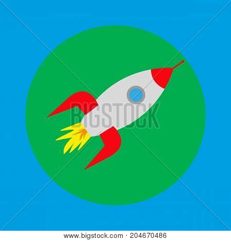 space rocket icon blue background vector illustration