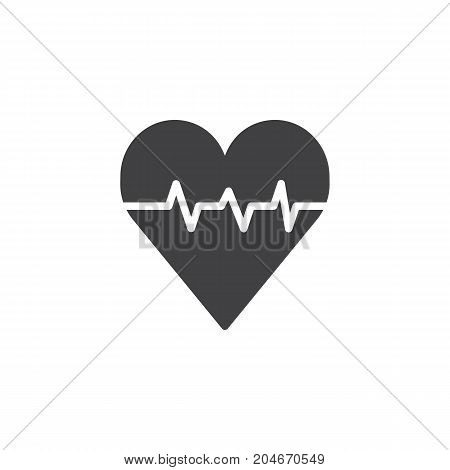 Heart with pulse icon vector, filled flat sign, solid pictogram isolated on white. Cardiology symbol, logo illustration