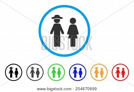 Gentleman And Lady rounded icon. Style is a flat gentleman and lady grey symbol inside light blue circle with black, gray, green, blue, red, orange versions.