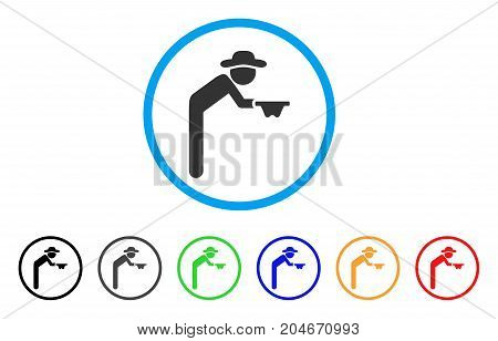 Gentleman Beggar rounded icon. Style is a flat gentleman beggar grey symbol inside light blue circle with black, gray, green, blue, red, orange variants.