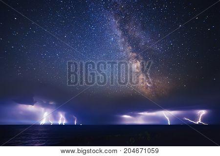 Thunderstorm On Sea And Milky Way Night Sky