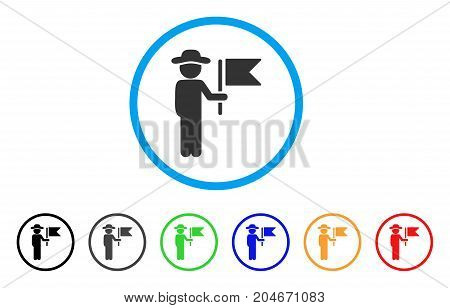 Gentleman Commander rounded icon. Style is a flat gentleman commander gray symbol inside light blue circle with black, gray, green, blue, red, orange variants.