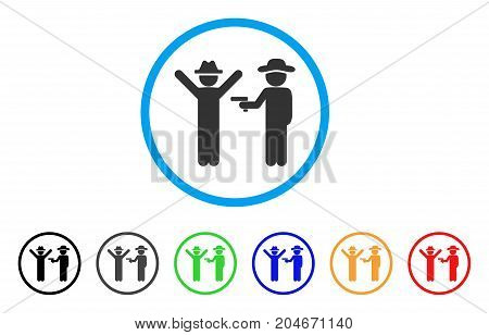 Gentleman Crime rounded icon. Style is a flat gentleman crime grey symbol inside light blue circle with black, gray, green, blue, red, orange versions. Vector designed for web and software interfaces.