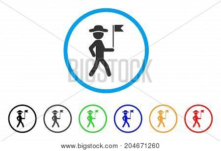 Gentleman Flag Guide rounded icon. Style is a flat gentleman flag guide gray symbol inside light blue circle with black, gray, green, blue, red, orange variants.
