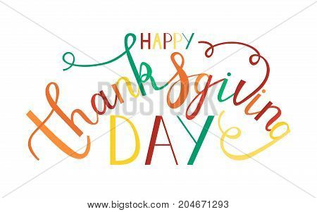 hand drawn thanksgiving lettering greeting phrase happy thanksgiving day. trendy colors of autumn