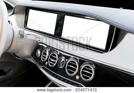 White Screen system display for GPS Navigation and Multimedia as automotive technology in car. white copy space of touch screen. Modern car dashboard empty space for text. White screen