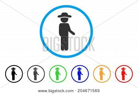 Gentleman Idler rounded icon. Style is a flat gentleman idler gray symbol inside light blue circle with black, gray, green, blue, red, orange versions. Vector designed for web and software interfaces.