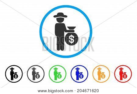 Gentleman Investor rounded icon. Style is a flat gentleman investor grey symbol inside light blue circle with black, gray, green, blue, red, orange versions.