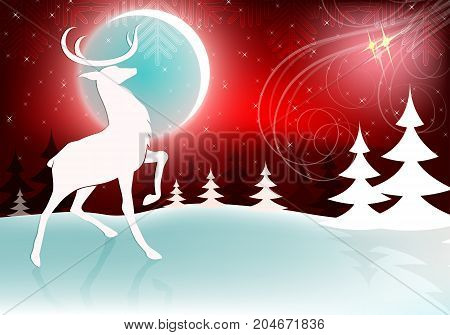 dark red christmas design with bright moon, deer and asterisks