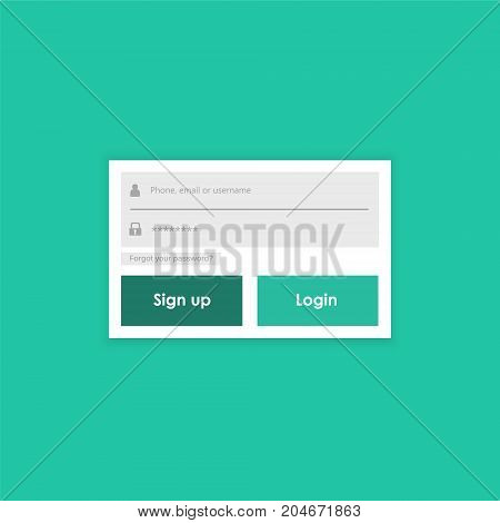 Login form menu with simple line icons. Website element for your web design. Eps10 vector illustration