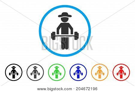 Gentleman Power Lifting rounded icon. Style is a flat gentleman power lifting grey symbol inside light blue circle with black, gray, green, blue, red, orange versions.