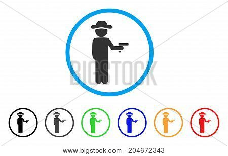 Gentleman Robber rounded icon. Style is a flat gentleman robber grey symbol inside light blue circle with black, gray, green, blue, red, orange color versions.