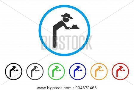 Gentleman Servant rounded icon. Style is a flat gentleman servant grey symbol inside light blue circle with black, gray, green, blue, red, orange color versions.