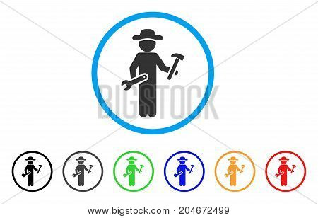 Gentleman Serviceman rounded icon. Style is a flat gentleman serviceman gray symbol inside light blue circle with black, gray, green, blue, red, orange versions.