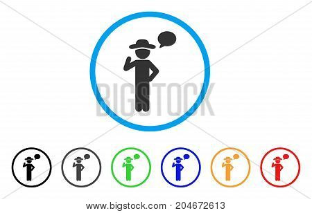 Gentleman Speech rounded icon. Style is a flat gentleman speech gray symbol inside light blue circle with black, gray, green, blue, red, orange variants.