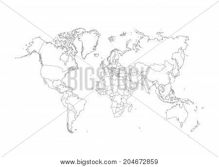 Political World Map vector Illustration on white background