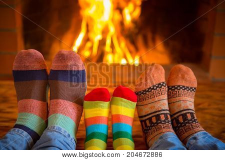 Family Near Fireplace