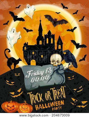 Halloween horror party poster of october holiday celebration. Spooky ghost and bat flying around creepy house banner template, decorated with Halloween pumpkin lantern and skull, black cat and crow