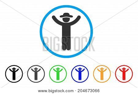 Hands Up Gentleman rounded icon. Style is a flat hands up gentleman grey symbol inside light blue circle with black, gray, green, blue, red, orange color versions.